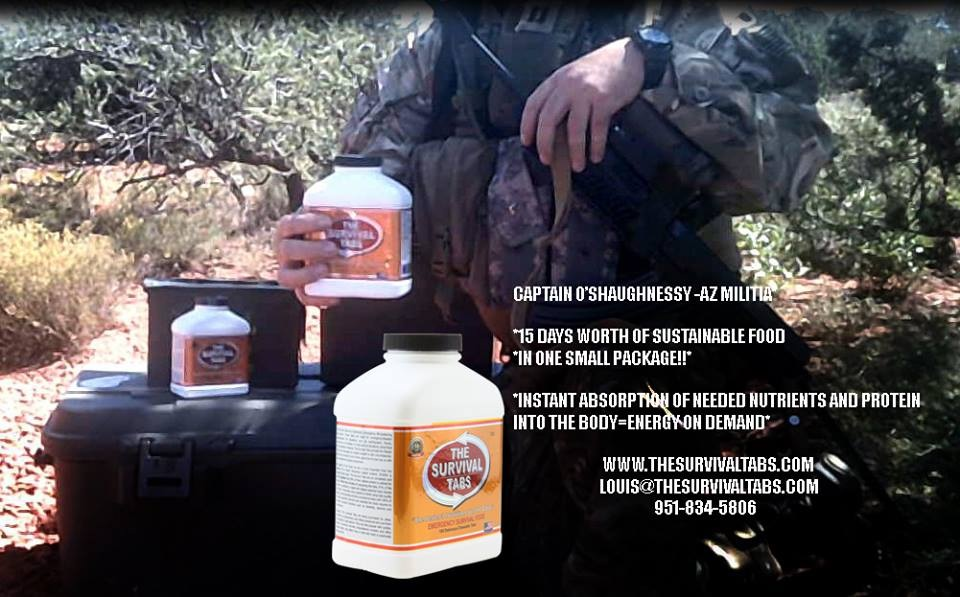 the survival tabs-15 day food supply-food replacement for army-CAPTAIN O'SHAUGHNESSY - ARIZONA MILITIA